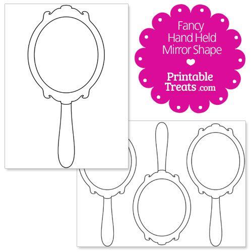 printable fancy hand mirror shape template
