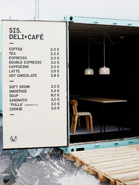 What a great idea for sign board on the back of the door!  Sis. Deli+Cafe | Helsinki