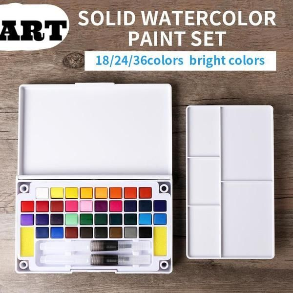 Colors Solid Watercolor Paint Set Box Art Paintbrush Portable