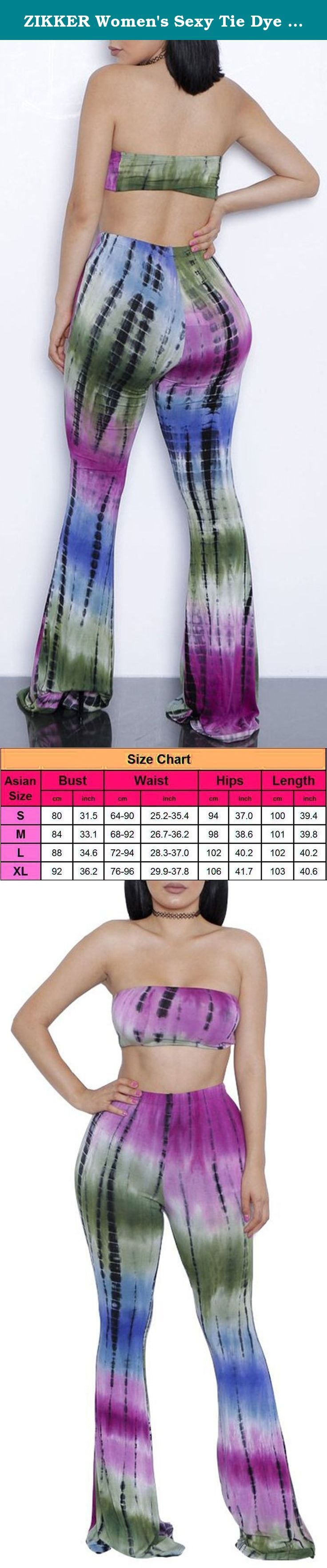 """ZIKKER Women's Sexy Tie Dye Print Bandeau Top Flared Bell Bottom Pants Outfits Purple Small. 5 Sizes For Choice,Please Refer to PRODUCT DESCRIPTION OR PICTURE SIZE Details before order. Note:Color differences allowed for light effects and display ternimal 5 Asian Sizes Available: Size S: Bust: 80cm/31.49"""" Waist:64cm-90cm/25.19""""-35.43"""" Hips: 94cm/37.01"""" Length: 100cm/39.37"""" Size M: Bust: 84cm/33.07"""" Waist:68cm-92cm/26.77""""-36.22"""" Hips:98cm/38.58"""" Length: 101cm/39.76"""" Size L: Bust…"""