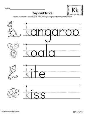 Say And Trace Letter K Beginning Sound Words Worksheet Worksheet Practice Saying And Tracing Words That Begin With The Letter K Sound