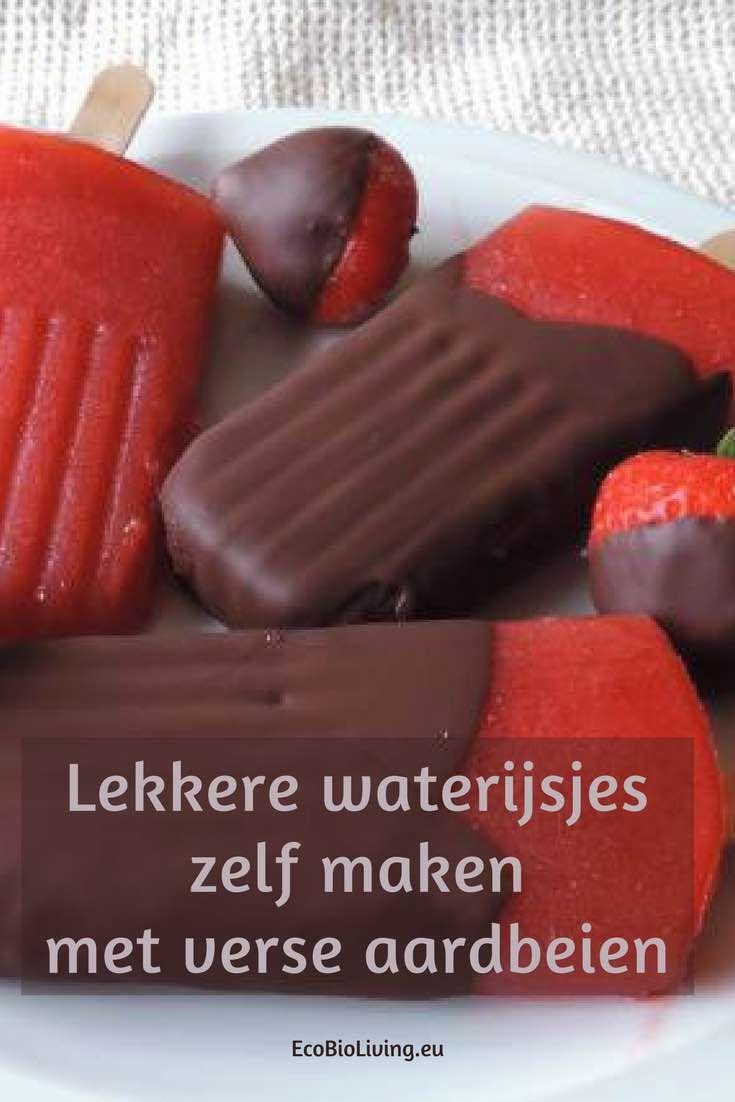 Waterijsjes maken met aardbeien • EcoBioLiving