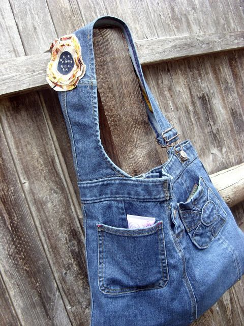 Repurposed overall jeans to bag