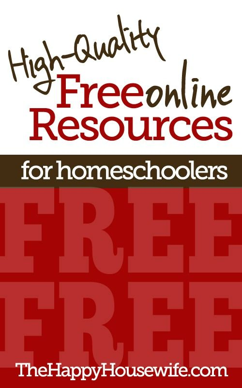 It is truly amazing how many FREE resources are available for homeschoolers. While I can't possibly list all the free resources available to homeschoolers, here are some of my favorites... | The Happy Housewife
