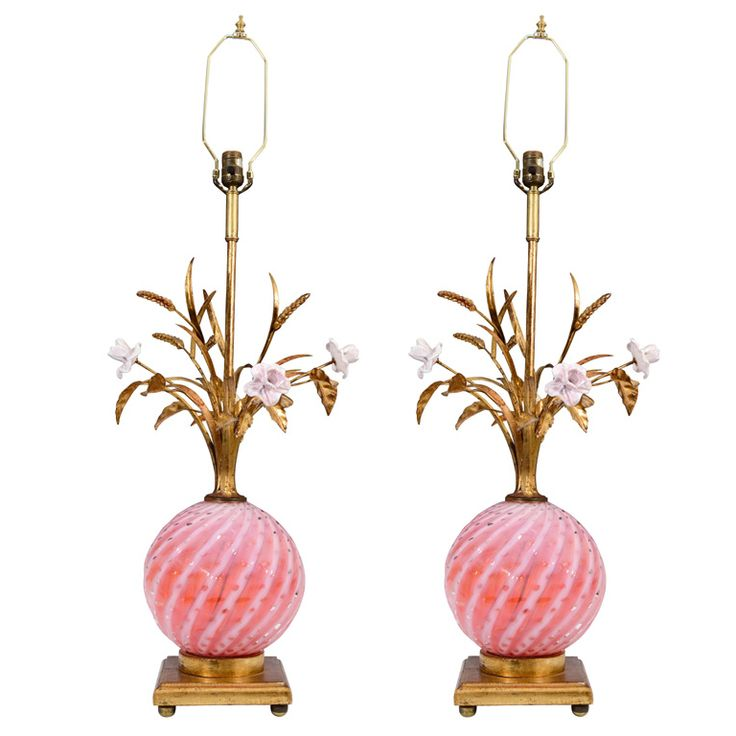Mid Century Italian Tole and Murano Glass Floral Motif Lamps #pinklamp #tole #pink (via @1stdibs)
