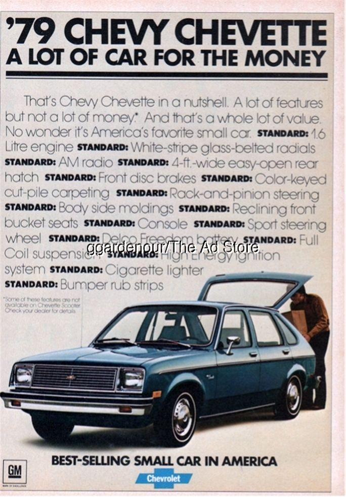 1979 Chevy Chevette Chevrolet vintage blue car photo 1978 ...