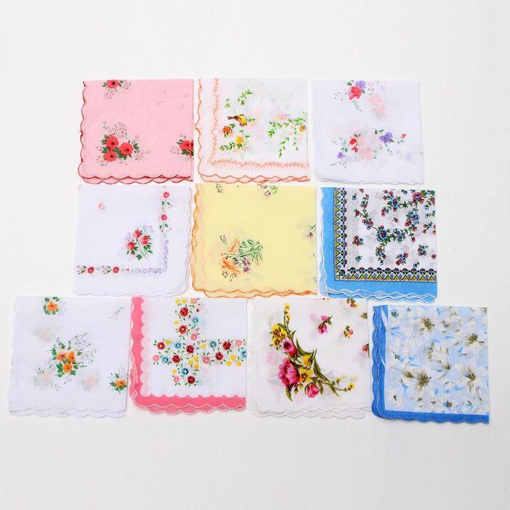 12Pcs/lot  Mixed Floral Handkerchiefs Ladies Women Hankies Imperfect Cotton Hanky Flower Quadrate Hankies Wholesale Useful