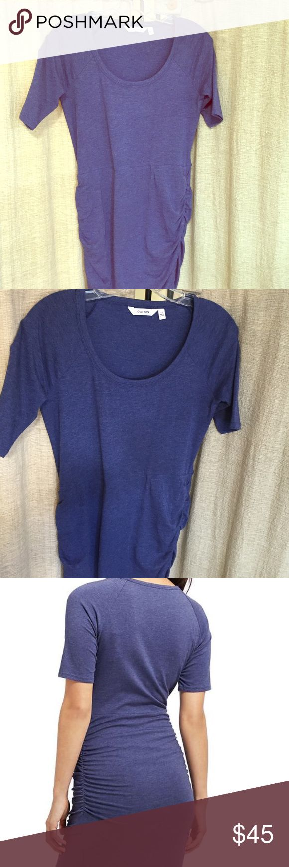 """Athleta Seeker Tee Dress/Wind Chill color XS NWT Athleta Seeker Tee Dress/Wind Chill color XS New with Tags! Never worn I have two of this dress and LOvE it! So easy to move around in. Perfect for parties, lite hiking, A night out or relaxing on the couch. Original Athleta design, scoop neck dress with 3/4 length sleeves, fitted bottom with rouching and """"V slit"""" Athleta Dresses Long Sleeve"""