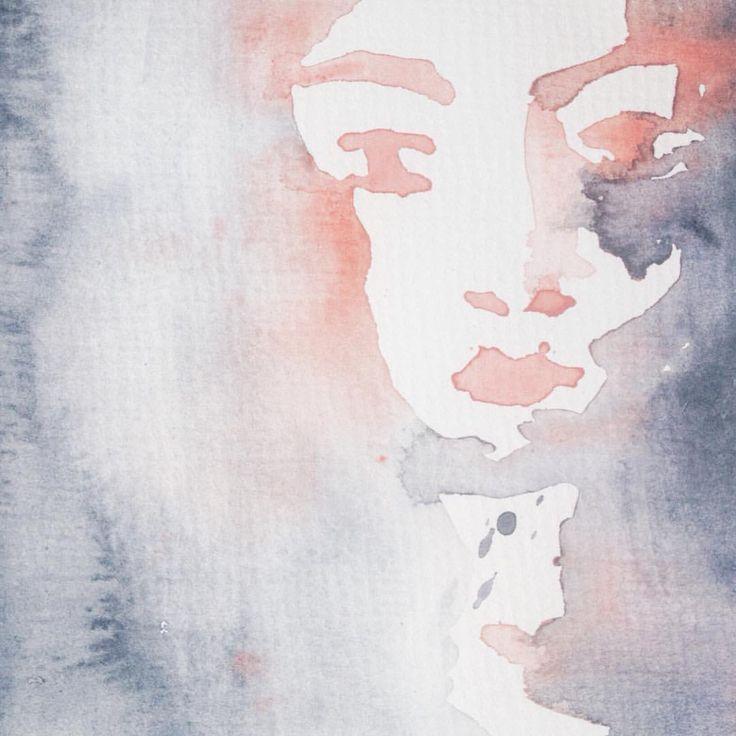 Instagram @kimartinsartist  || Number 5 || 15cmx19,5cm watercolor ink in watercolor paper with 300g/m2 #watercolor #painting #art #portrait #decoration #wall #kimartinsartist #color