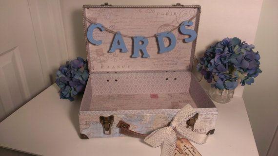 luggage card box vintage wedding reception card box, rustic wedding ...