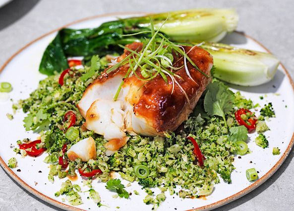 Our 20-minute miso cod recipe is made with a sticky Asian-style glaze. Serve with fresh broccoli rice and juicy, stir-fried pak choi