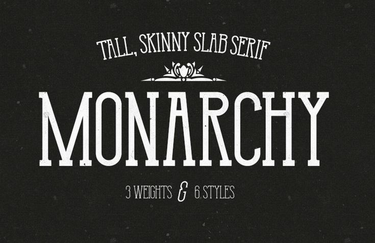 preview of a monarchy, a tall skinny slab serif font family