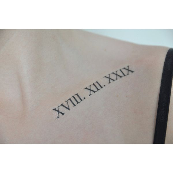 Roman Numerals Temporary Tattoo, Classical Art, Small Temporary... ($4.88) ❤ liked on Polyvore featuring accessories and body art