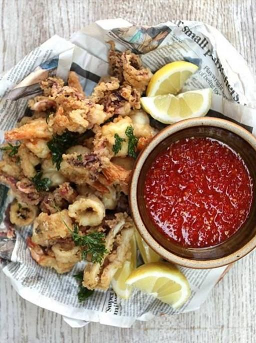 Squid and Prawns with Homemade Sweet Chilli Sauce