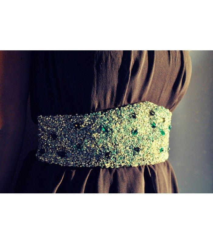 Eles Italia fasce handmade - Fascia vita cristalli smeraldo e argento  #band #elasticband #eles #elesitalia #belt #crystals #fashion #madeinitaly #elite #elitemadeinitaly #woman #girl #handmade #handcrafted