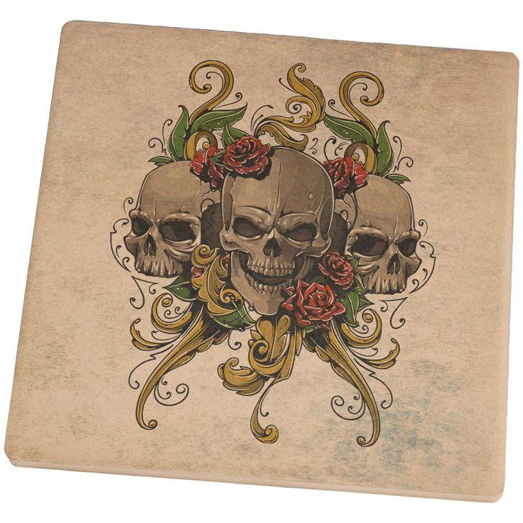 Skulls and Roses Tattoo Square Sandstone Coaster