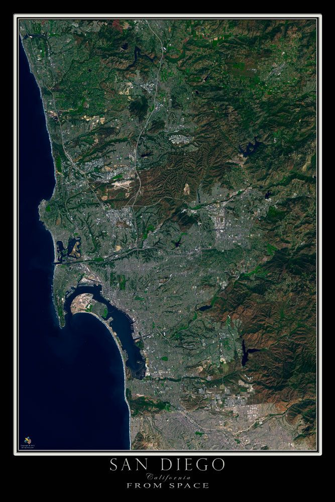 San Diego California Satellite Poster Map 44