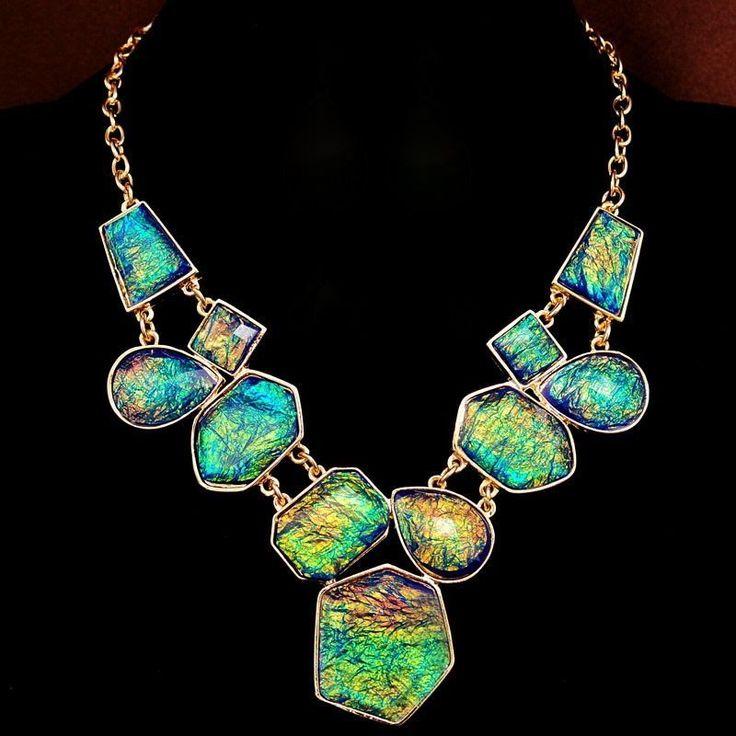 "NEW Inspired Blue Green Statement Necklace Women's Dress Beach 19"" Adjustable US"