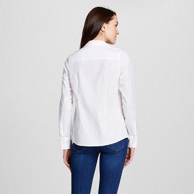 Women's Collared Button Down Shirt Fresh White XL -Merona