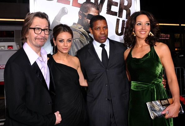 """Jennifer Beals Photos - (L-R) Actors Gary Oldman, Mila Kunis, Denzel Washington and Jennifer Beals arrive at the premiere of Warner Bros. """"The Book Of Eli""""  held at Grauman's Chinese Theatre on January 11, 2010 in Hollywood, California. - Premiere Of Warner Bros. """"The Book Of Eli"""" - Arrivals"""