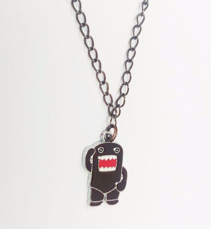 Cute domo kun cartoon red dark brown charm anime funny black chain geek necklace #Handmade #Charm