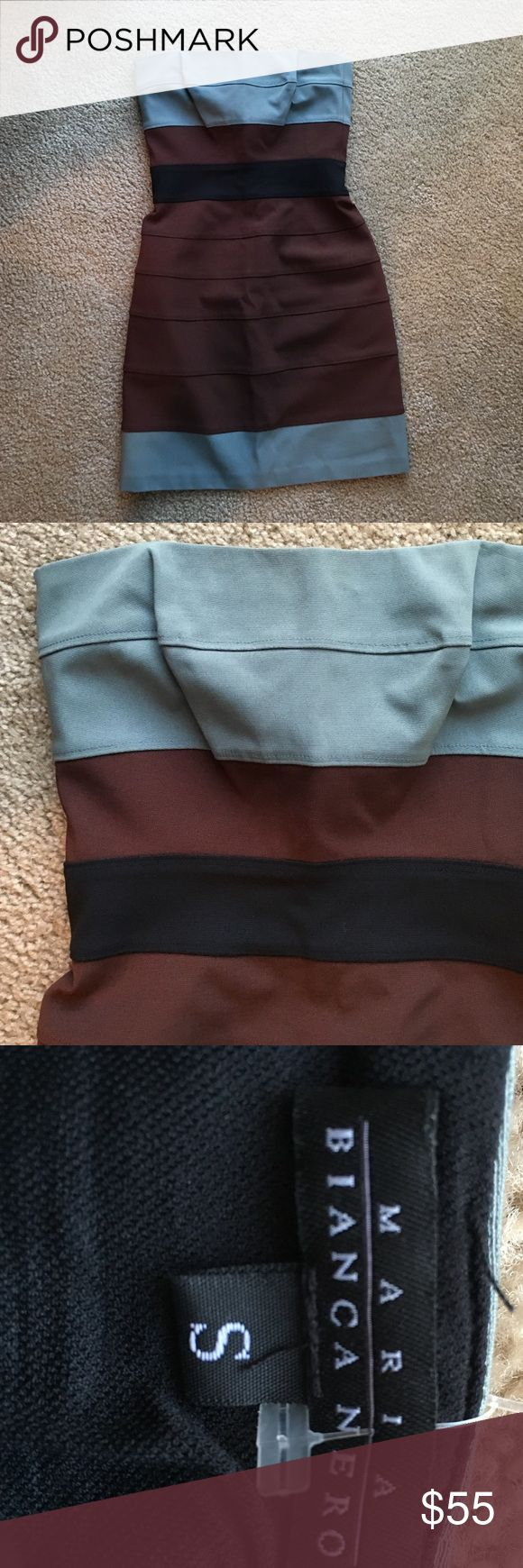 Maria Bianca Nero bandage dress, size s Selling a Maria Bianca Nero strapless dress, size small. Dress is a light blue, brown, and black color. Dress has back zipper and is meant to be fitted, but still has stretch to it! maria bianca nero Dresses