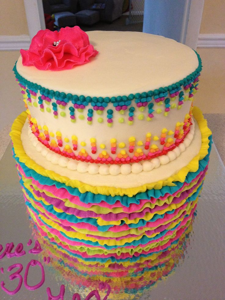 Mexican themed, girly 30th birthday cake, with ruffles and ...
