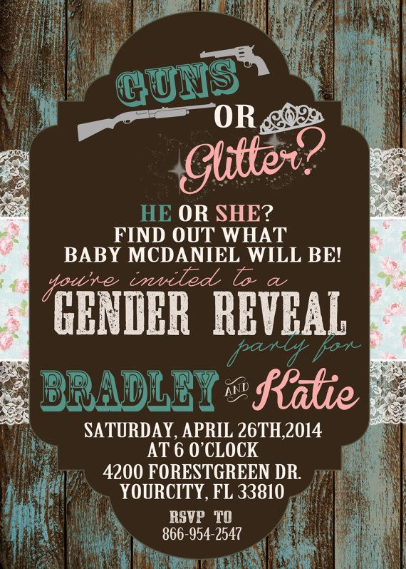 Guns or Glitter Gender Reveal Invitation by ChevronDreams on Etsy, $10.00