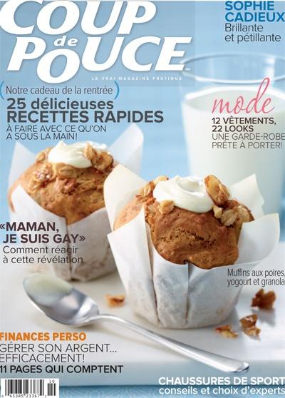 En couverture de notre magazine d'octobre 2012: Nos muffins aux poires, au yogourt et au granola.