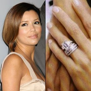 Tony Parker proposed to Eva Longoria with this $150,000 four-carat emerald cut ring with emerald side stones, designed by Jean Dousset.