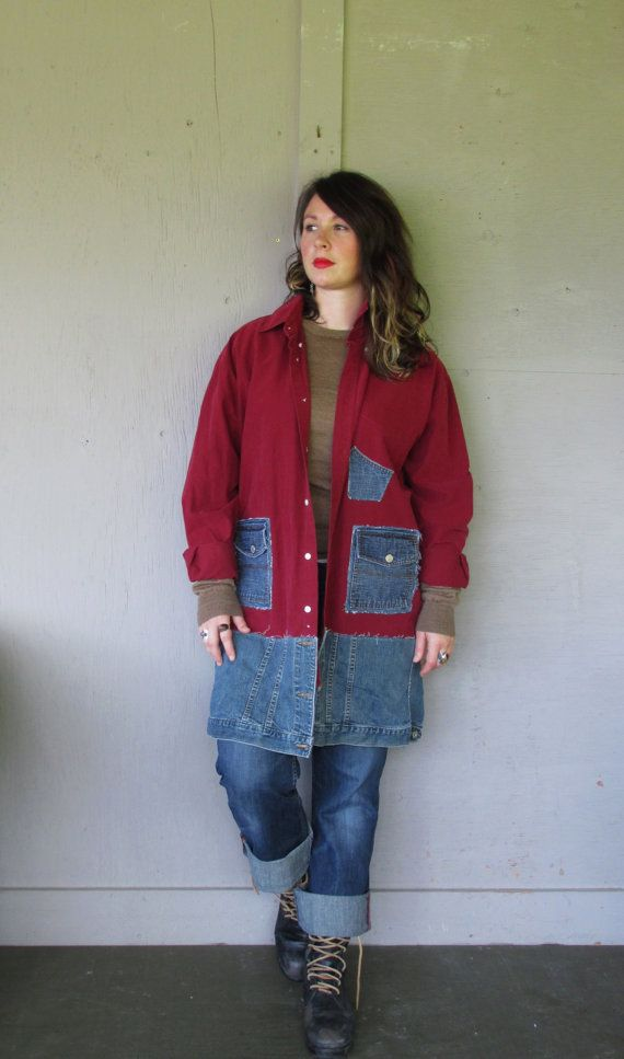 Funky upcycled denim Jacket coat/lagenlook clothing/Artsy patchwork Tunic/Bohemian cowgirl dress Large-XLarge plus by LillieNoraDryGoods