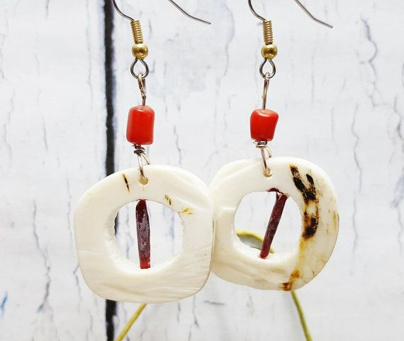 $24.95 ~ Free Spirited Boho Earrings ~ Gift For Women ~ Burning Man, Coachella, Music Festival Bohemian Jewelry ~ Buffalo Bones & Red Coral Dangles ~ USE DISCOUNT CODE PIN10 for 10% off in my Etsy shop