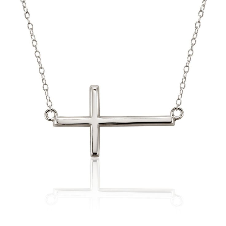 Remembered Sterling Silver Sideways Cross Necklace