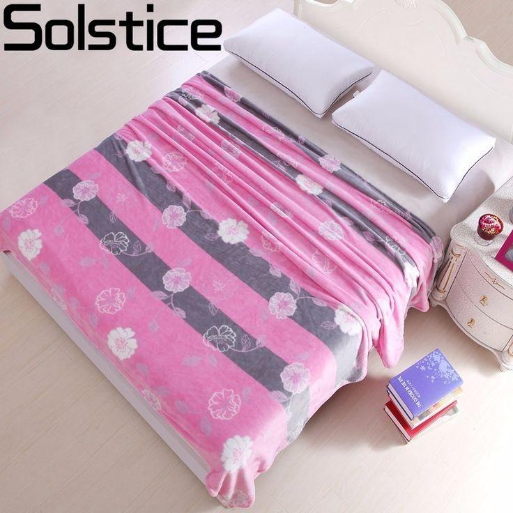 Solstice Summer Thin Section Pink Flower Print Super Soft Warm Printed Coral Fleece Blanket Bed Sheet Sofa/TV/bed Sheet Blanket