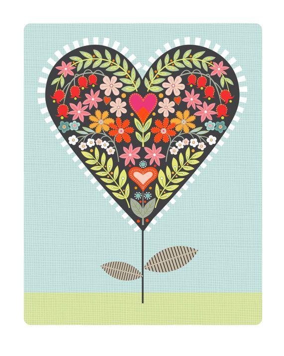 Getting in the valentine spirit - CbyC Original Illustration - Heart Flower Limited Edition Print