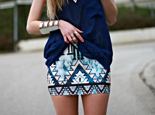 Tribal print skirt: Fashion, Style, Skirts, Dream Closet, Clothes, Blue, Outfit
