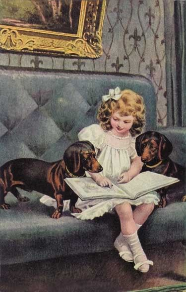 Girl reads as her two Daschund 's as they listen and learn