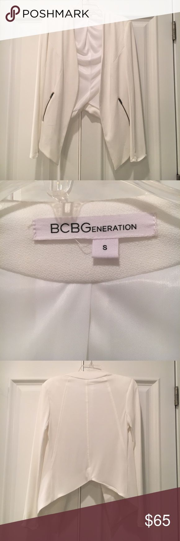 BCBGeneration winter white blazer BCBGeneration winter white jacket, size small with side zippered pockets. Perfect condition- no stains, tears, snags.... Worn once. BCBGeneration Jackets & Coats Blazers
