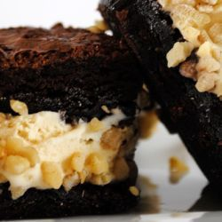 Nutty Peanut Gelato Brownie Sandwiches // Fuel your passion with more recipes at www.pregelrecipes.com