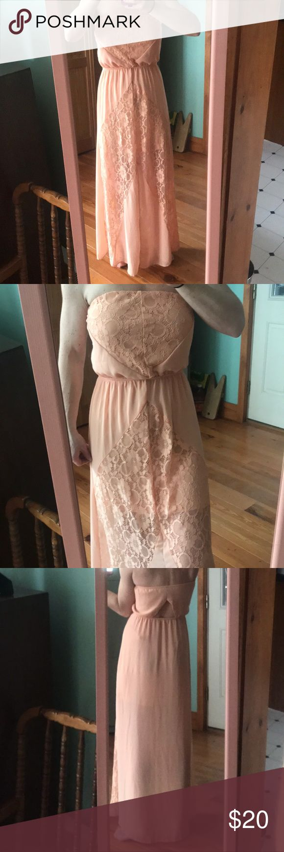 Peach dress, XS from Charlotte Russe I'm new to this site and trying my best to get good pics on my own as well as learn what info people need! Please feel free to ask any questions! I will bundle for a great price any items!  Sorry, pale legs not included #Maine Charlotte Russe Dresses
