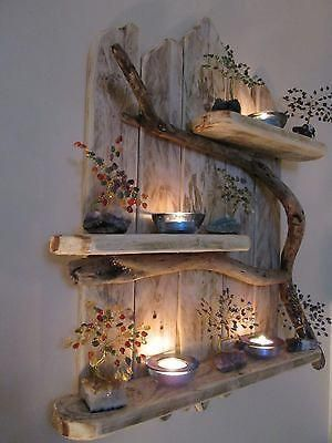 Charming Natural Genuine Driftwood Shelves Solid R…