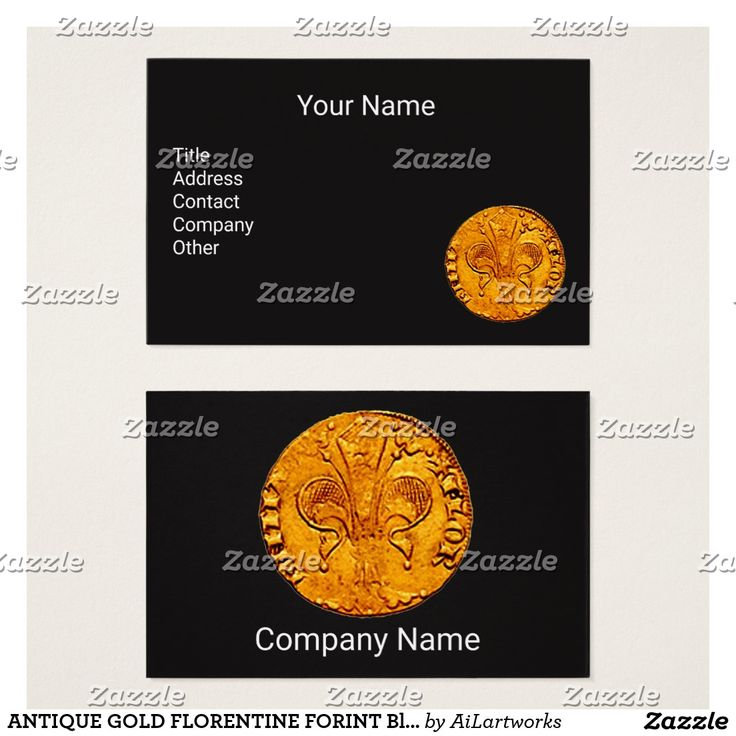 ANTIQUE GOLD FLORENTINE FORINT Black Business Card #numismatics #coin #fiorino #lilly #fleurdelise #coin
