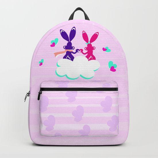 Love is.. / Couple of bunnies in love Backpacks by LaskaArt | Society6