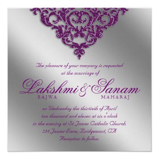 297 best Sparkling Purple Wedding Invitations images on Pinterest - best of invitation card example