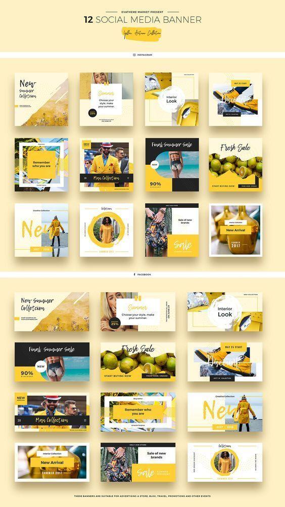 Yellow Autumn Social Media Designs by Evatheme Market on Creative Market #AD
