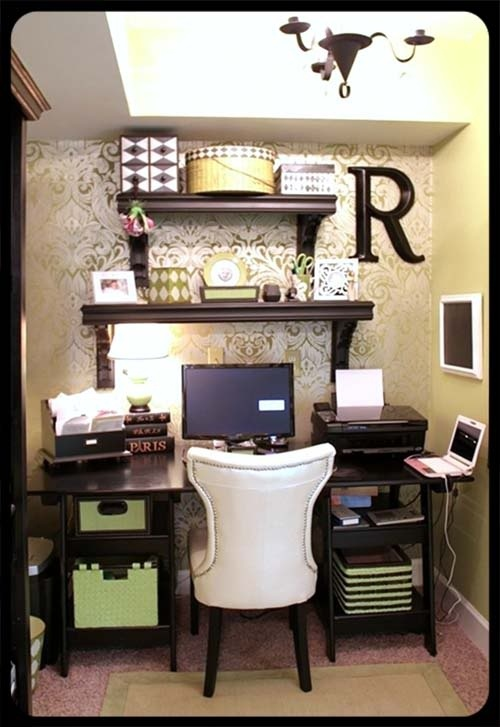 Classy and girly office area- I really like the wallpaper used