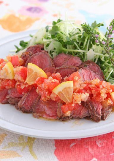 ローストビーフのサラダ仕立て~和風トマトドレッシング~ のレシピ・作り方 │ABCクッキングスタジオのレシピ   料理教室・スクールならABCクッキングスタジオ