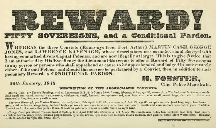 Escaped Convict Reward Notice 1843