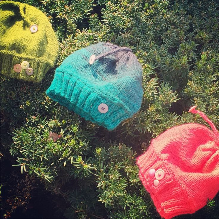 Button-Up Lucy Hats - my hand knit hats for all sizes. All with whimsy buttons and tassles.