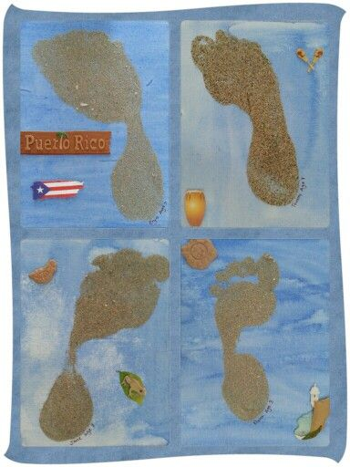 My children's footprints using sand from Puerto Rico.  My dad was born there. I had him bring me some sand from his favorite beaches the last time he went. Now he can say his grandkids have stepped foot on Puerto Rican soil. I just had the kids paint mini canvases, step in glue, then sprinkle sand on it. We chose to add some themed stickers we found at the craft store. My dad loved it!